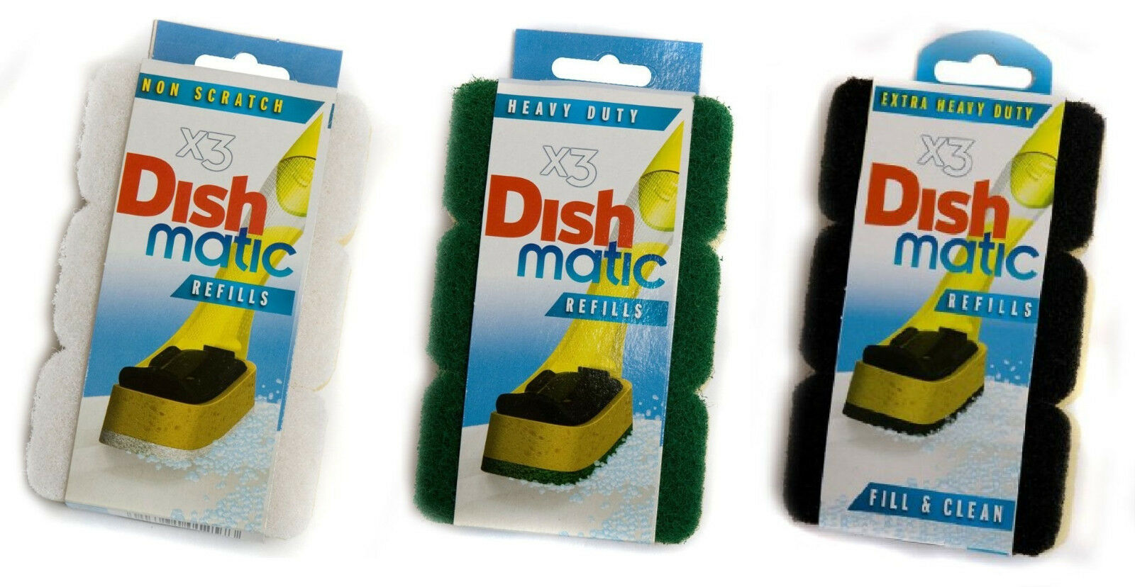 Dishmatic Refill Sponges Replacement Head Scrub Pack of 3 Heavy Duty Non Scratch