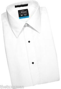 NEW Mens Slim Fit White Laydown Collar Tuxedo Shirt Plain Front Formal Shirts