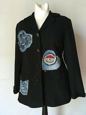 Blazer 90er Vintage Schwarz Patches Jeans Herzen Grunge Ausgefallen 42 44 Kaufe Eins, Bekomme Eins Gratis