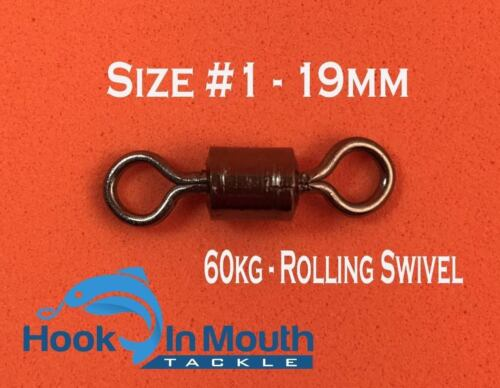 100 x Rolling Fishing Swivels Size #1 Tested at 60kg Tackle Snapper Swivel Gear