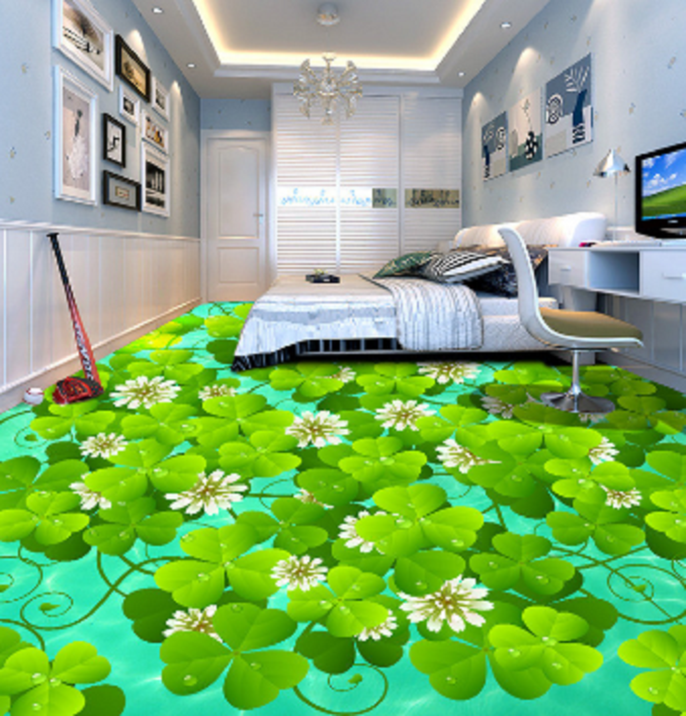 3D Petals Grün Leaf 784 Floor WallPaper Murals Wall Print Decal AJ WALLPAPER US