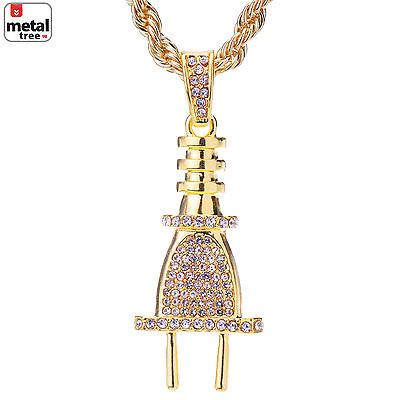 """Men/'s CZ 14k Gold Plated Iced Out Guadalupe Pendant 24/"""" Rope Chain HC 116 G"""