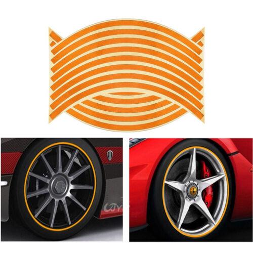 16 Adesivi riflettenti catarifrangenti ruota moto auto automobile ARANCIONE