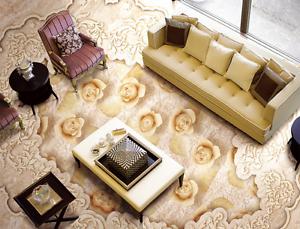 3D Elegant Flowers 743 Floor Wall Paper Murals Wall Print AJ WALLPAPER UK Lemon