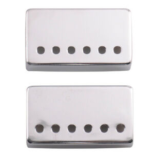 Pair-of-Chrome-Metal-Humbucker-Covers-for-Electric-Guitars-52mm-Spacing
