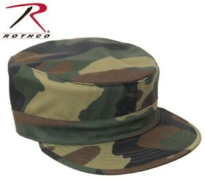 1a14d8b94b4 Image is loading Woodland-Camouflage-Military-Style-Fatigue-Hat-Patrol-Cap-