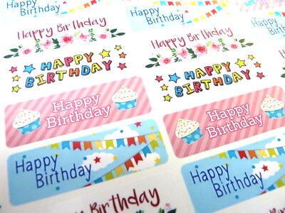 Colourful Happy Birthday Greeting Stickers Labels for Cards /& Gifts HBW-4715-2