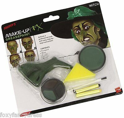 Green Witch Make Up & Nose Set Special Effects FX Halloween Fancy Dress Make Up