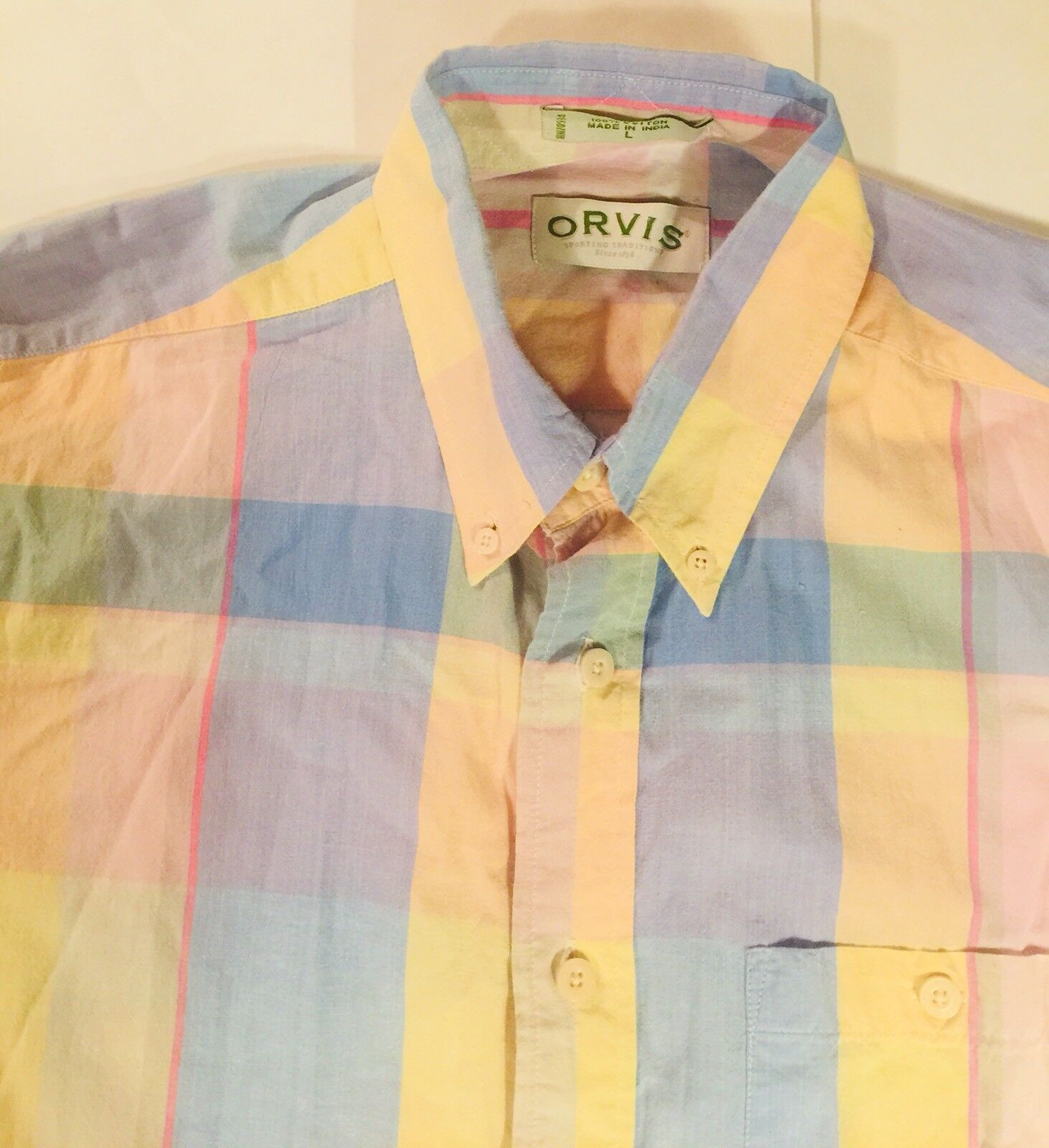 ORVIS Mens L Short Sleeve Button Up Shirt Bright  Plaid
