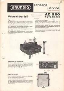 Treu Grundig Service Anleitung Manual Ac 220 Automatic B-971 Dauerhaft Im Einsatz Tv, Video & Audio