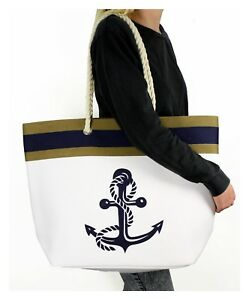 Solid-Canvas-Tote-Shoulder-Bag-Rope-Anchor-Nautical-Beach-Navy-Blue-White