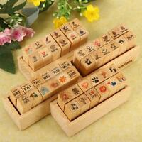 12pcs/Set Rubber Stamps Vintage Case Alphabet Letters Number Craft + Wooden Box