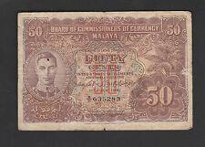 Malaya 50 Cents (1941) KGVI , A/31 635283 - FINE