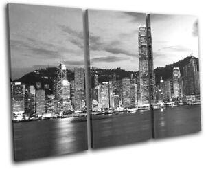 Hong-Kong-Skyline-Skyscraper-City-TREBLE-CANVAS-WALL-ART-Picture-Print