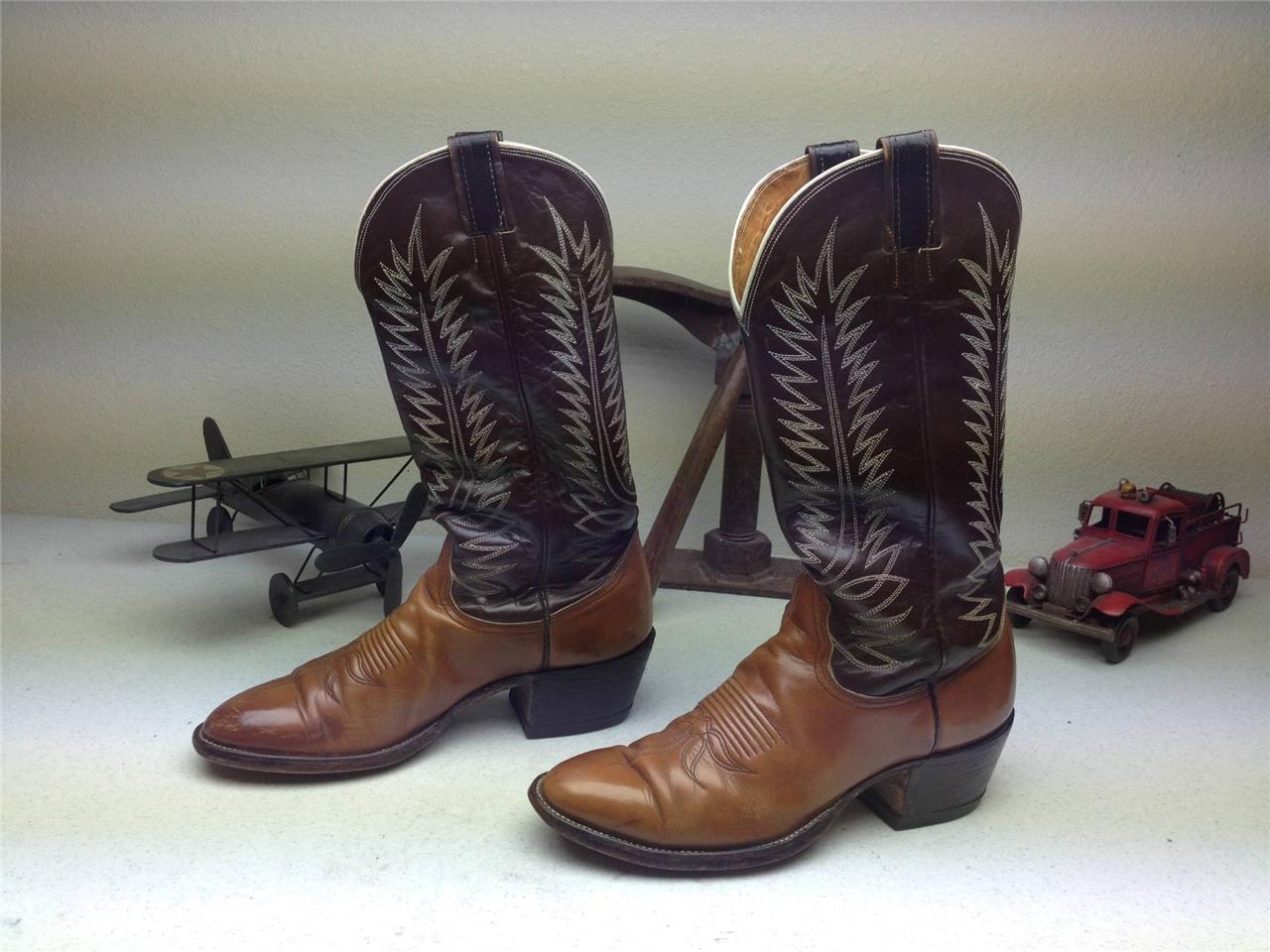 Envejecido Nocona Peanut quebradizo marrón país Cowboy Trail Boss botas 11,5 B