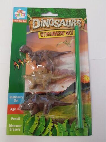 3x Dinosaur Erasers Pencil Rubber Toppers School Kids Children Party Filler Bag