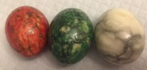 Vintage-Set-of-3-Alabaster-Marble-Natural-Stone-Egg-Italy-Red-White-Green