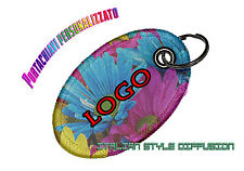 KEYRING CUSTOMIZED PRINT PERSONALIZED PHOTO LOGO FABRIC CLOTH OVAL