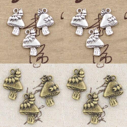 4pcs Charm Mushroom Pendant Craft Bracelet Necklace Earring Making DIY