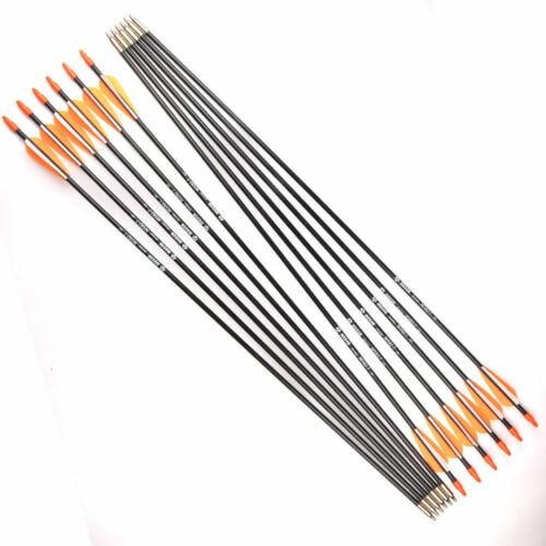 "US 12PCS 31/"" Fiberglass Arrows Shaft Plastic Fletched 7mm Target Hunting Archery"