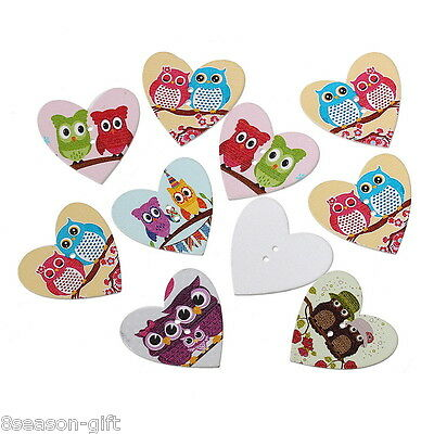 50PCs Wooden Buttons Heart Shape Owl Pattern Cute 2-hole Sewing Scrapbook DIY