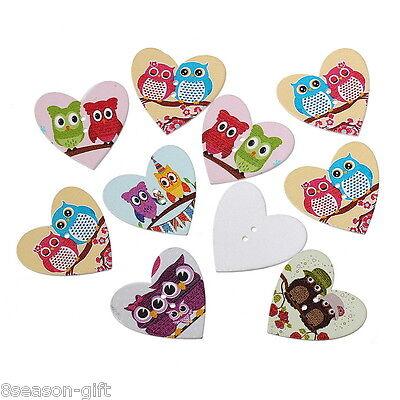 50PCs Wooden Buttons Heart Shape Owl Pattern Cute 2-hole Sewing Scrapbook DIY