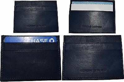 Lot Of 4 Nuovo Pelle Business Scheda Custodia 7 Credito Id Card Carta Blu Nwt