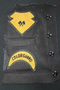 "VINTAGE 1950'S SCHOOL  BLACK AND GOLD WOOL CHENILLE PATCHES  5"" X 5"" AND 5"" X 3"""