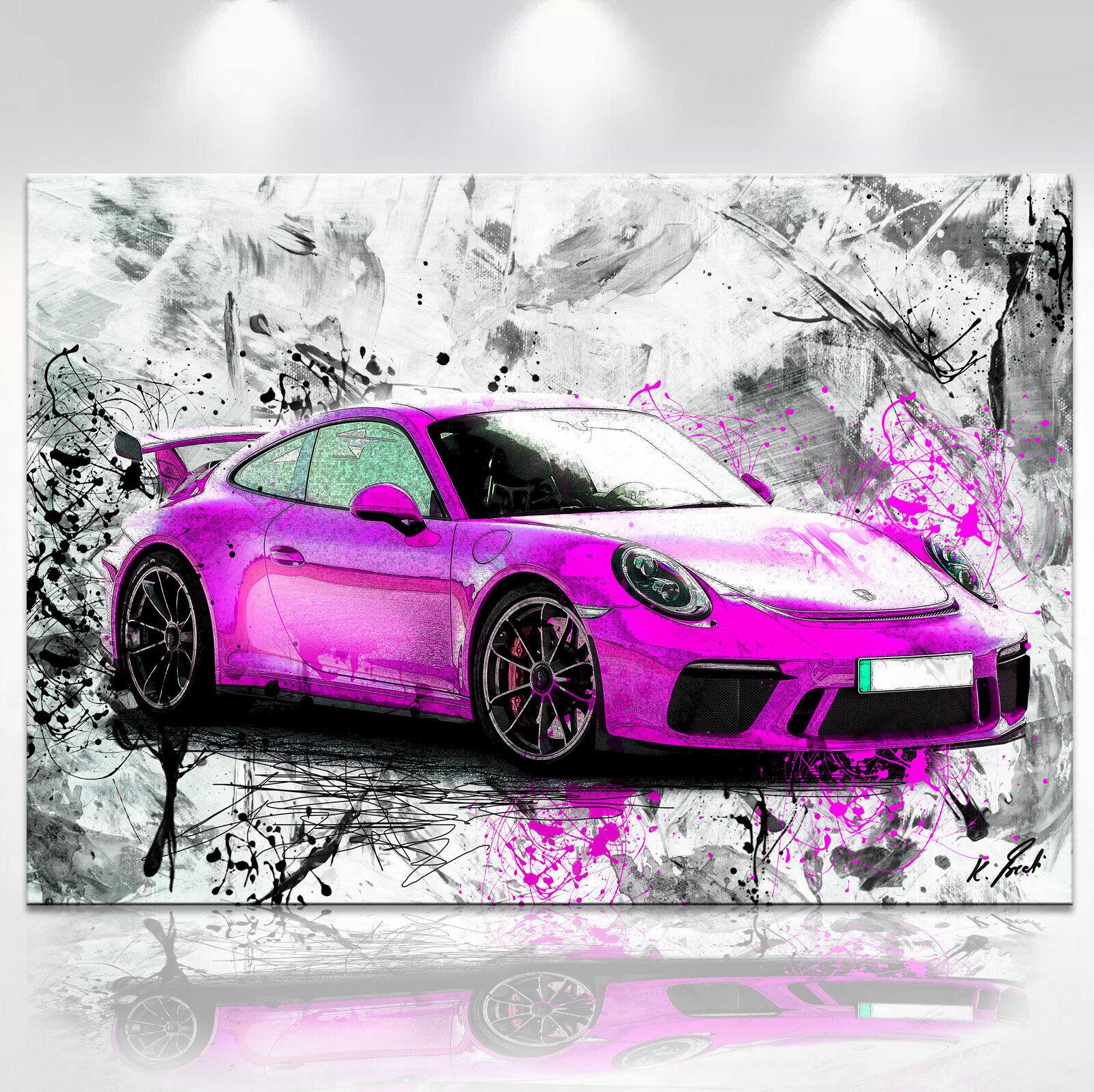 Abstraktes Auto Porsche 911 Sport Bild Leinwand Kunst Bilder Wandbilder D01919