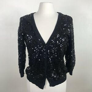 LC-Lauren-Conrad-cardigan-sz-M-Med-sweater-sequin-black-snap-front-formal-party
