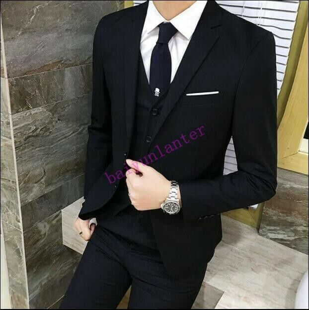 Mens Blazer Suit Coat Pant Vest 3 pcs Casual Business Suit Wedding Dress Formal