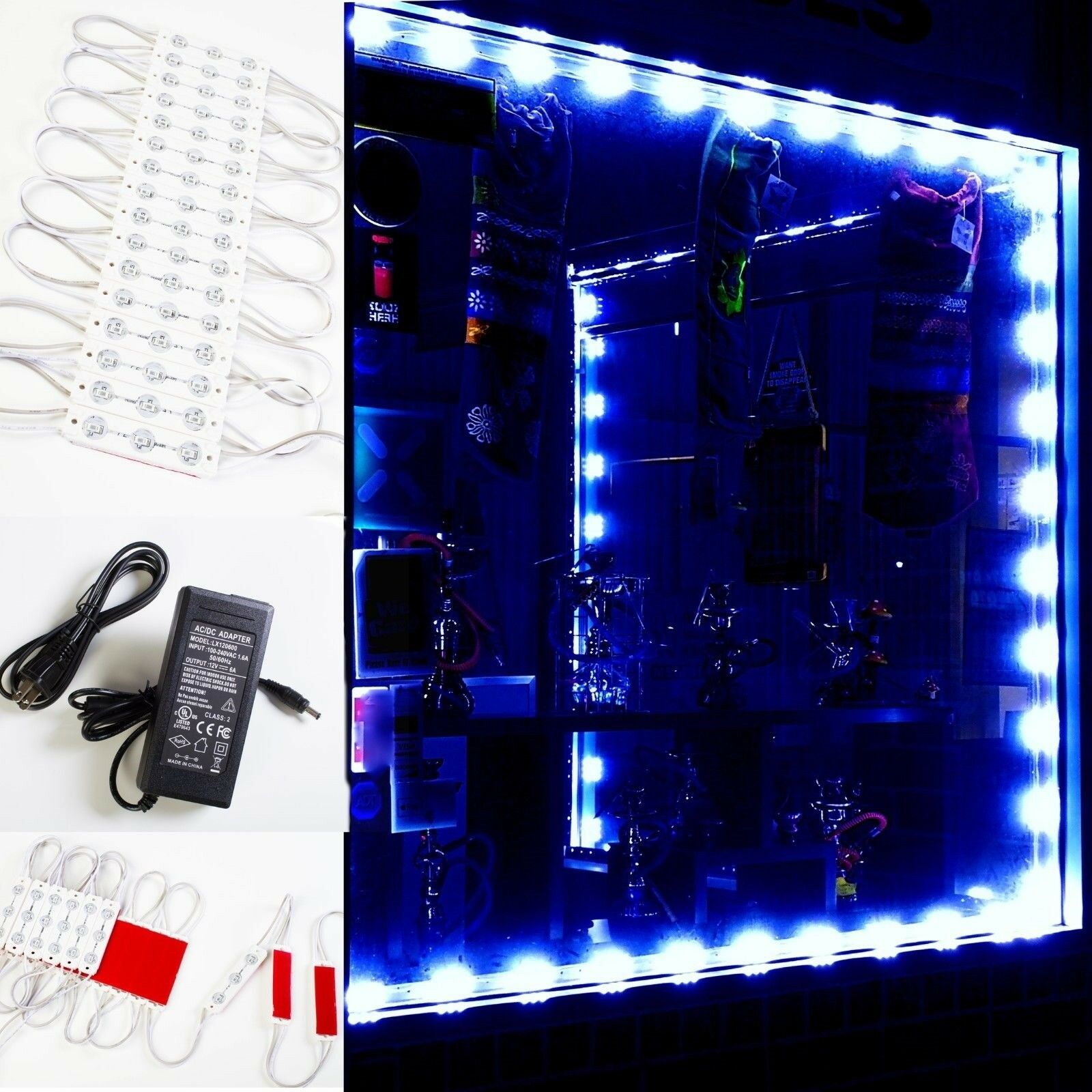 LEDUPDATES 30ft Blau STOREFRONT WINDOW LED LIGHT INSTALL KIT + UL Power supply