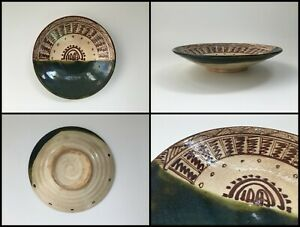 Japanese-Pottery-Dish-Plate-Vintage-Signed-Oribe-Ware-Pattern-Green-X003