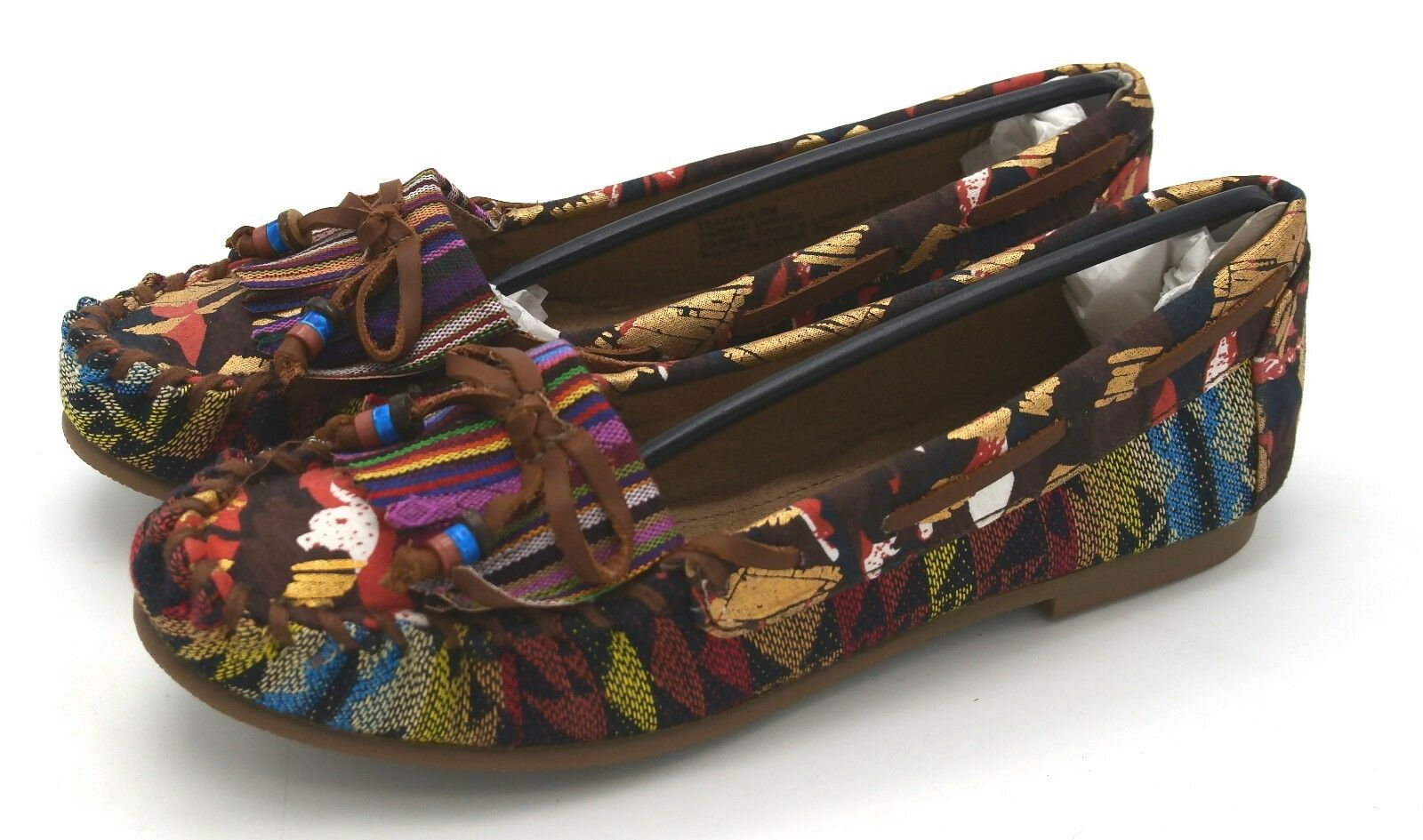 J5812 New Women's Steve Madden Teana Bright Multi color Textile Flat 6.5 M