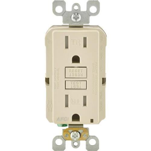 3-Leviton 15A Light Almond Arc Fault 5-15R Duplex Electric Outlet R16-AFTR1-0KT