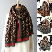 Damen Schal Tuch Leopard Print Baumwolle Pashmina Wraps Winter Warm Schals Neu
