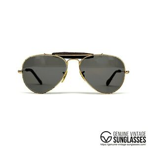 Ray-Ban-Bausch-amp-Lomb-Leather-Gold-Vintage-Sunglasses-USA-80s-Small