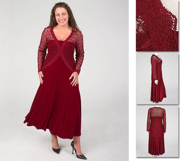 NEW   Zaftique ELEGANT LACE DRESS Garnet RED (Last One ) 1Z   Women 16   XL 1X