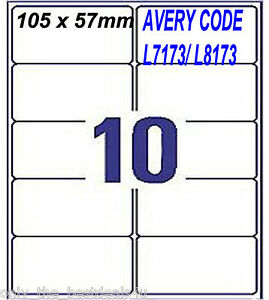 100 address labels 10 per sheet self adhesive 10 x 10 a4 avery code