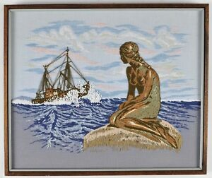 Mermaid-and-Ship-Large-Crewel-Embroidery-Framed-Picture-21-X-25-Adele-Veres