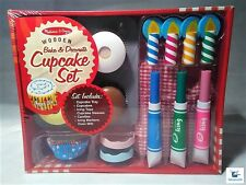 Melissa & Doug Wooden Bake & Decorate Cupcake Set, Boys and Girls, Ages 3+, NIP