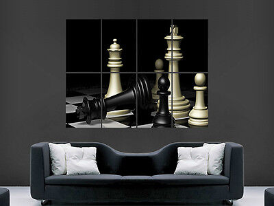 CHESS BOARD PIECES KING QUEEN PAWN  POSTER  ART WALL LARGE IMAGE GIANT HUGE