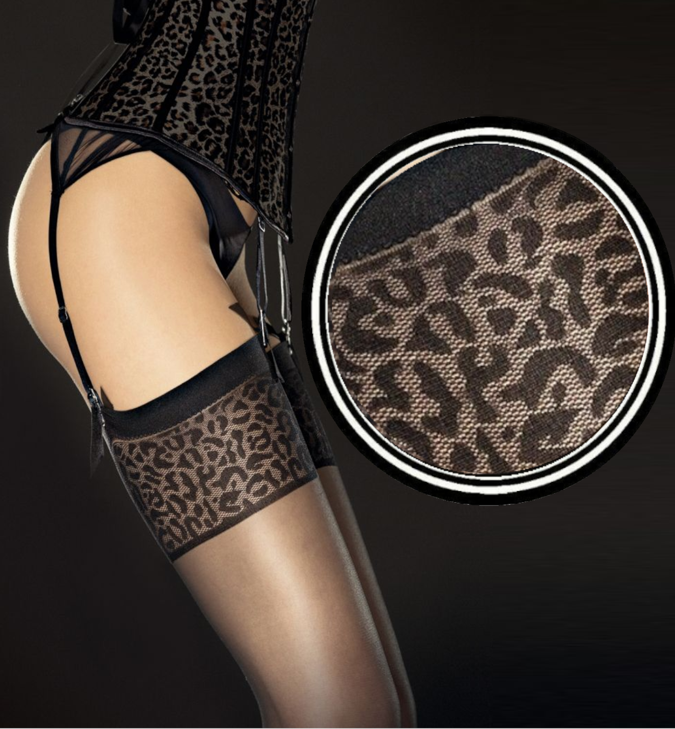 FIORE ANTERA Strapsstrümpfe Tiermuster Sexy Stockings 20DEN Schwarz Gepard Fuß