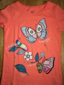 Carter's Baby Girls Size 4-5 Years Orange Color T-Shirt, Butterfly Print NWT