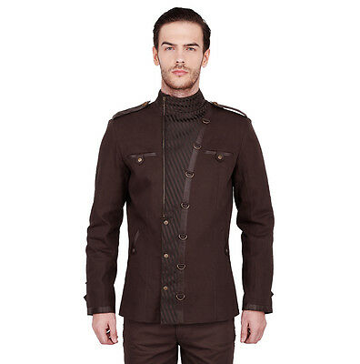 Vintage Goth Steampunk Jacke Herren braun brown Gothic steam Jacket coat VG16433