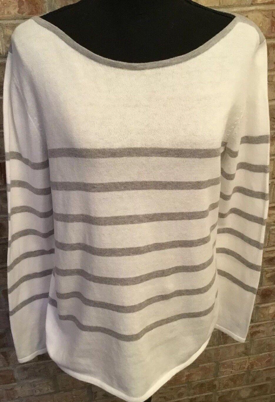 Eileen Fisher Sz S White W Grey Stripes Sweater Long Sleeves 100% Organic Cotton