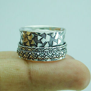 Ethnic-Jewelry-925-Silver-Plated-Spinner-Ring-US-Size-9-R-1990