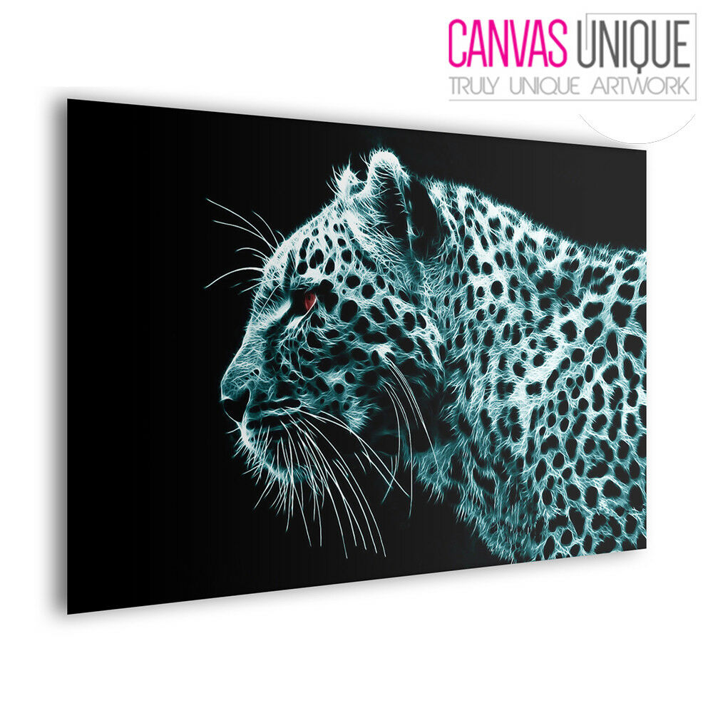 A078 Blau Abstract Leopard Profile Animal Multi Frame Canvas Wall Art Print