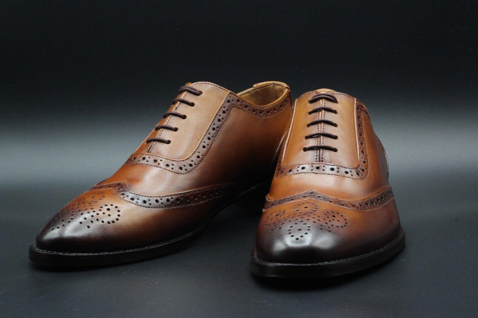 Men Bespoke Handmade Genuine Tan Leather Lace-Up Oxford Brogue Wingtip schuhe