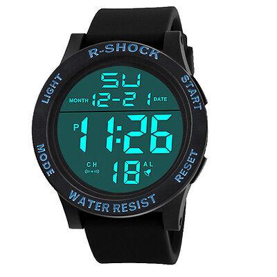 Fashion Men's Watch LCD Digital Stopwatch Date Rubber Sport Quartz Wrist Watch
